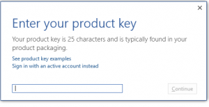 Enter activation key for Office 2016