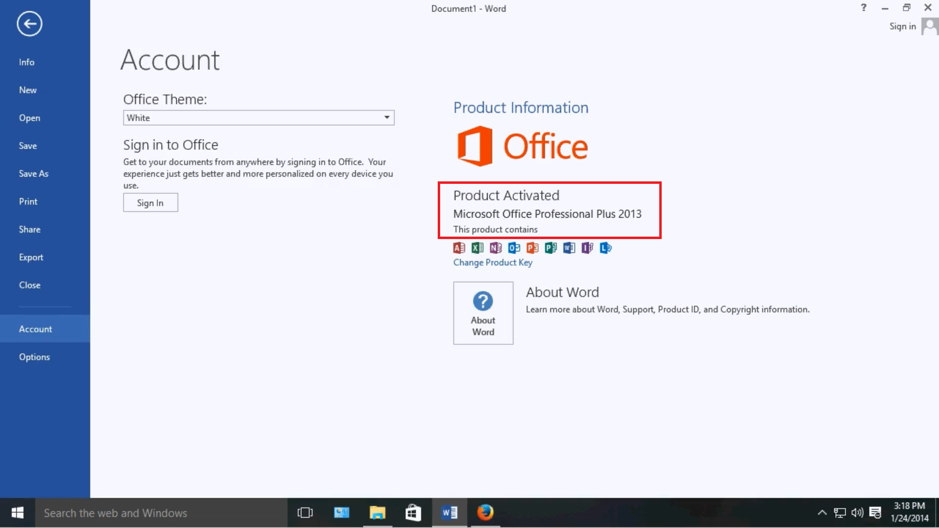 Microsoft Office 2013 activated using Re-Loader Activator