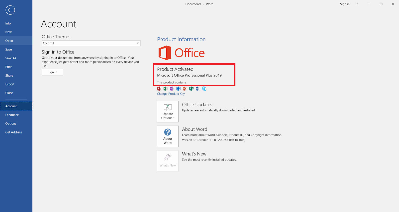 Microsoft Office 2019 is activated